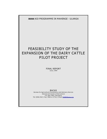 Feasibility Study for Expansion of the Dairy - Tanzania Online Gateway