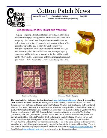 Quilt Guild Newsletter Ideas : July, 2010 CPQ Newsletter - Bakersfield Quilt Guild