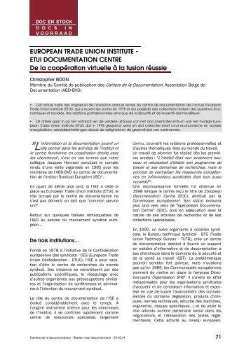 European Trade Union Institute - ETUI Documentation ... - ABD-BVD