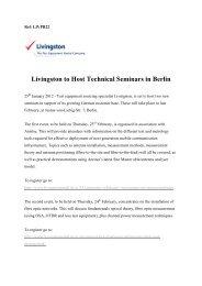 Livingston to Host Technical Seminars in Berlin