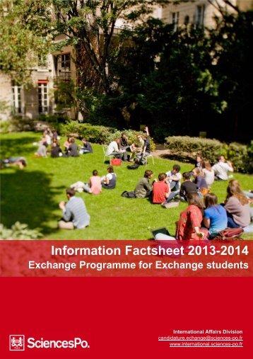 Information Factsheet 2013-2014 - Sciences-Po International