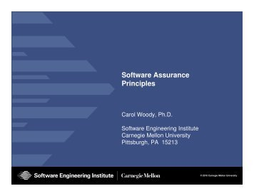 Software Assurance Principles - Build Security In
