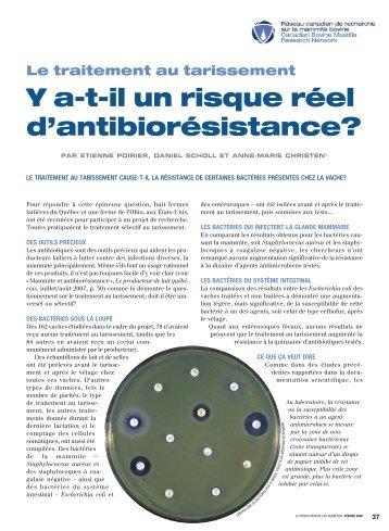 Y a-t-il un risque réel d'antibiorésistance? - Fédération des ...