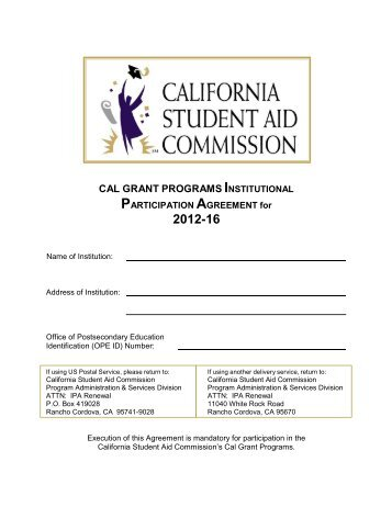 Cal Grant Institutional Participation Agreement - CSAC California ...