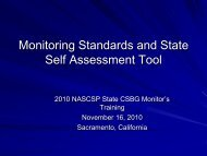 Monitoring Standards & State Self-Assessment Tool - NASCSP