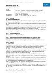 1 Minutes Board Meeting EMC September 2007, Helsinki, Finland ...