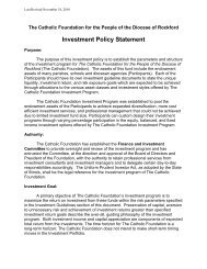 Investment Policy Statement - Diocese of Rockford