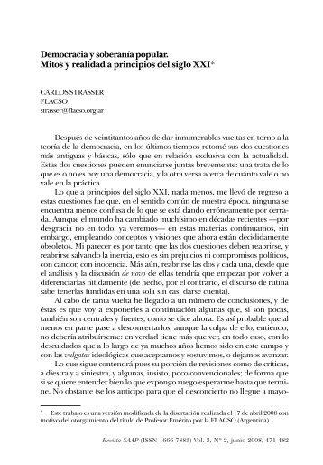 Democracia y soberanía popular. Mitos y realidad a principios del ...