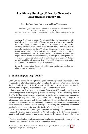 Facilitating Ontology (Re)use by Means of a ... - ResearchGate