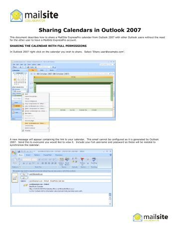 Using and Sharing a CommuniGate Calendar with Outlook ...