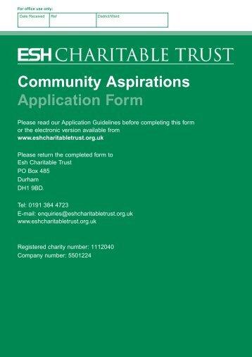 Community Aspirations Application Form - Esh Group