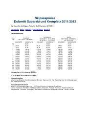 Skipasspreise Dolomiti Superski und Kronplatz 2011/2012