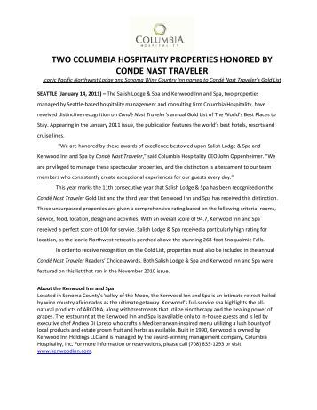 two columbia hospitality properties honored by conde nast traveler
