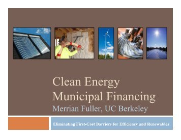 Clean Energy Municipal Financing - Precourt Energy Efficiency Center