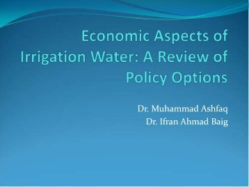 Economic Aspects of Irrigation Water: A Review of Policy Options