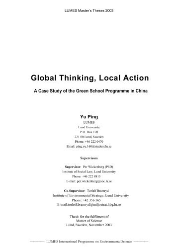 Global Thinking, Local Action; A Case Study of the Green ... - lumes