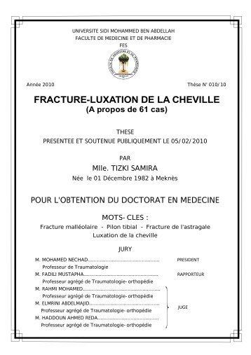 FRACTURE-LUXATION DE LA CHEVILLE - Toubkal