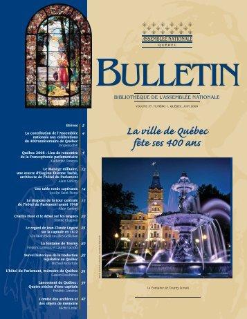 Vol. 37, no 1, juin - Bibliothèque - Assemblée nationale du Québec
