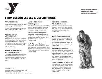 swim lesson levels & descriptions - Central Connecticut Coast YMCA