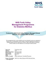 Management Programme for Diabetes Mellitus - NHS Forth Valley