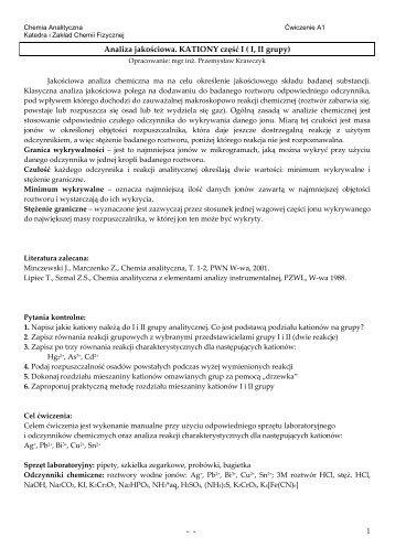 Analiza jakościowa_A1_kationy_gr_I_II - Katedra i Zakład Chemii ...