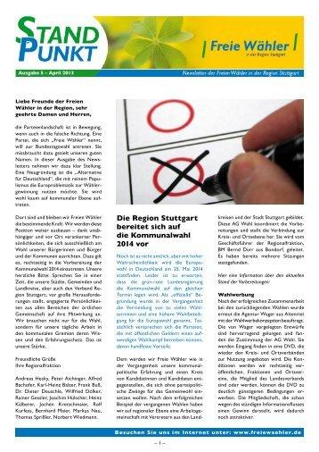 Newsletter_2013 Nr 1 April - Freie Wähler Landkreis Böblingen