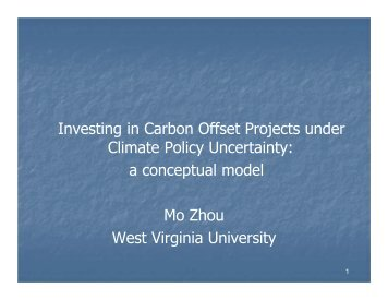 Investing in Carbon Offset Projects under Climate Policy ... - sofew