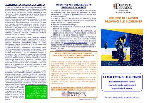 Volantino Alzheimer 2007 Cerca Servizi Provincia Di Varese