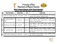 L - Department of Physical Education, University of Pune.