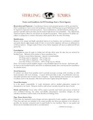 Terms and Conditions for FIT bookings from a Travel ... - Sterling Tours