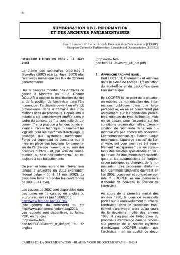 numerisation de l'information et des archives ... - ABD-BVD