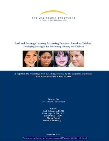 Food and Beverage Industry Marketing Practices Aimed at Children ...
