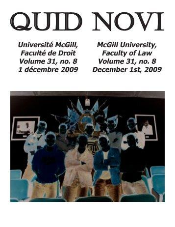 December 1, 2009 - Latest Issue - McGill University