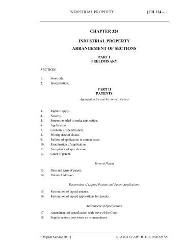 Industrial Property Act - The Bahamas Laws On-Line