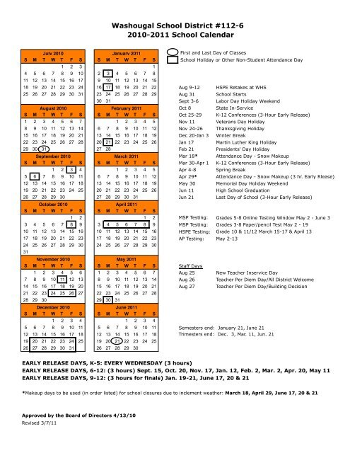 Kennewick School District Calendar.Wsd Calendar 2010 11 Washougal School District