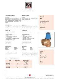 MA Safety valve 3 - 10 bar Brass