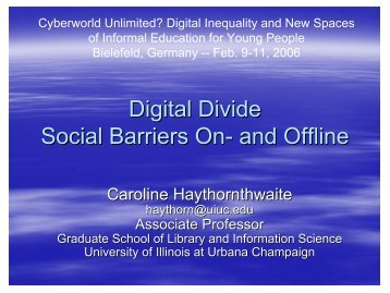 Digital Divide Social Barriers On- and Offline - KIB
