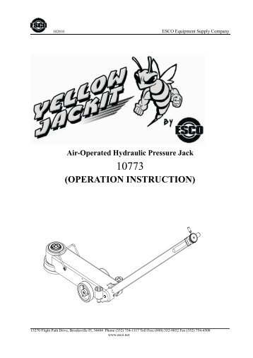 PRODUCT OPERATING INSTRUCTIONS & PART Nos
