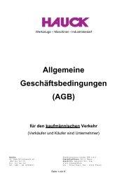 Allgemeine Geschäftsbedingungen (AGB) - W. HAUCK GmbH