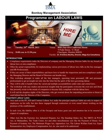 Programme on LABOUR LAWS - Bombay Management Association
