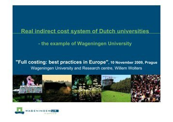 Real indirect cost system of Dutch universities