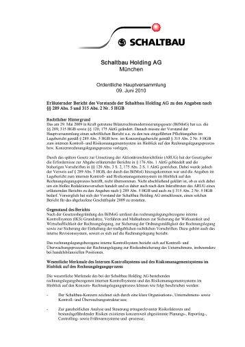 Erläuternder Bericht des Vorstands der Schaltbau Holding AG zu ...