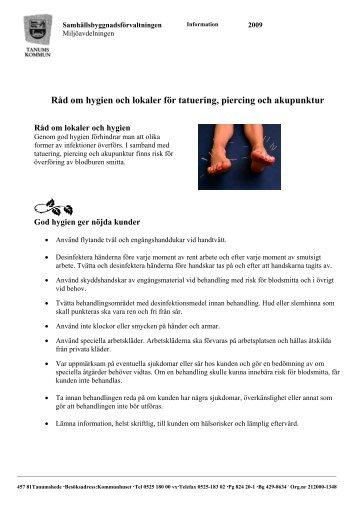 Råd om hygien och lokaler för tatuering, piercing och akupunktur