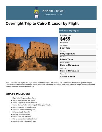 Overnight Trip to Cairo & Luxor by Flight - Memphis Tours Egypt