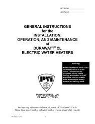 cl electric water heaters - Pvi.com