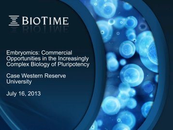 Case Western Reserve Univ. Presentation - BioTime