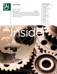 BGL Industrials Insider.indd - Brown Gibbons Lang & Company