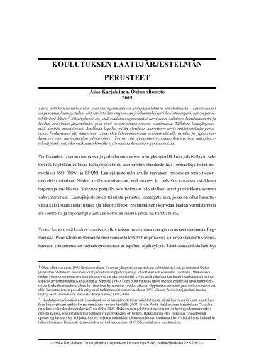 KOULUTUKSEN LAATUJÄRJESTELMÄN PERUSTEET.rtf - TieVie