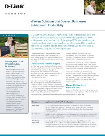 Wireless Solutions that Connect Businesses to Maximum ... - D-Link