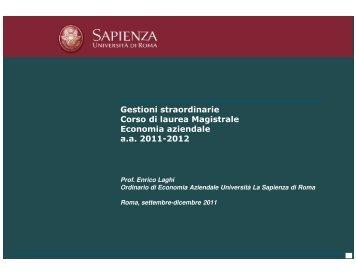Gestioni straordinarie Corso di laurea Magistrale Economia ...